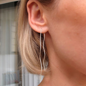 Wave Threader Earrings in Sterling Silver