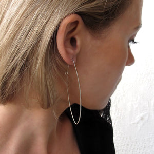 oval hoop earrings sterling silver
