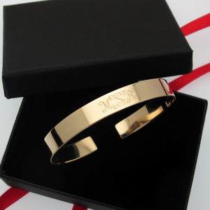Custom Engraved Gold Cuff Bracelet for Her