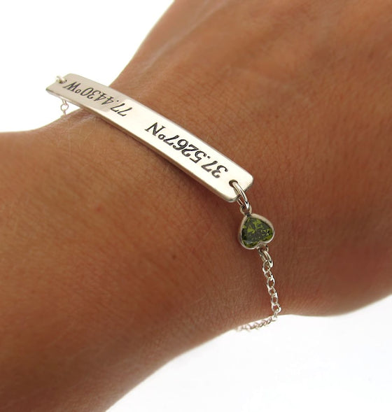 Latitude Longitude Bracelet with small heart - Personalized bracelet for her - crystal heart bracelet