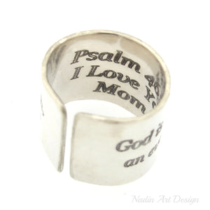Engraved wide silver ring