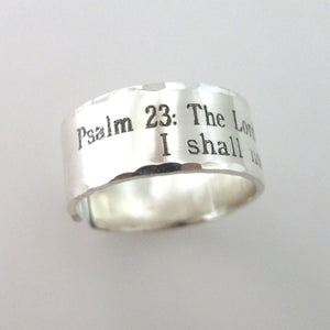 Psalm 23 Silver Ring