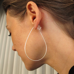 large tear drop hoop earrings - Sterling Silver teardop hoops