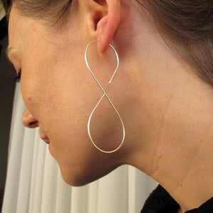 infinity hoop earrings - unique hoops - modern earrings in Sterling Silver