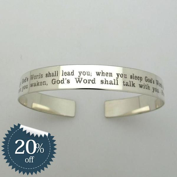 Custom Engraved Sterling Silver Cuff Bracelet