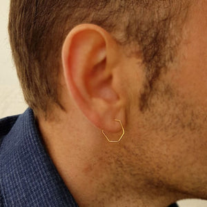 gold hexagon hoop earring for men - minimalist mens earring in gold