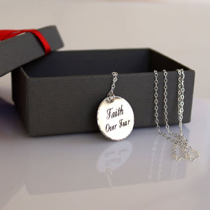 Mantra Faith Over Fear Necklace