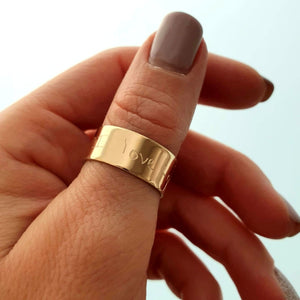 Chunky Ring - Secret Message Text Engraved Ring in Gold Filled 14K