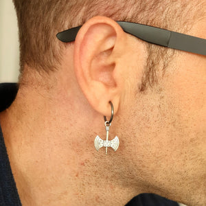Double Axe Earring - Mens Single Earring