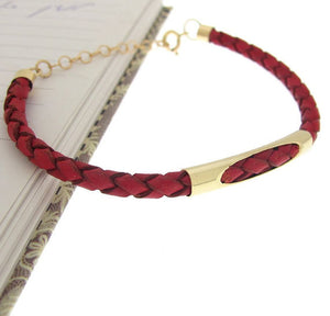 Red Braided Leather Cuff for Men - Mens Gift
