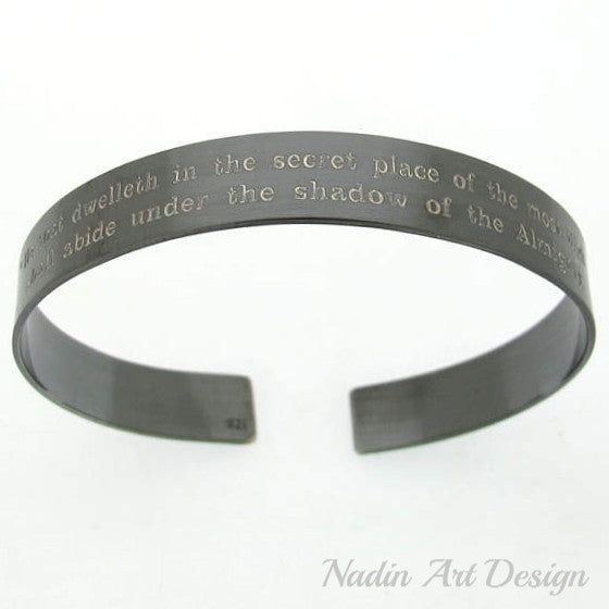 Black cuff for men two sides engraved