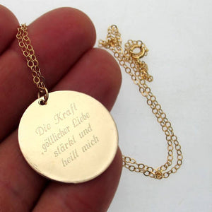 Custom Message Gold Necklace