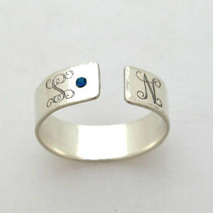 Personalized Silver Ring - 2 Initials Band Ring