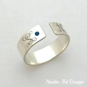 Monogram silver band ring