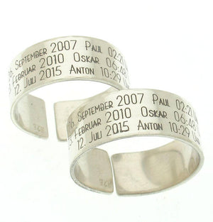 Wide Date Ring - Sterling Silver Band