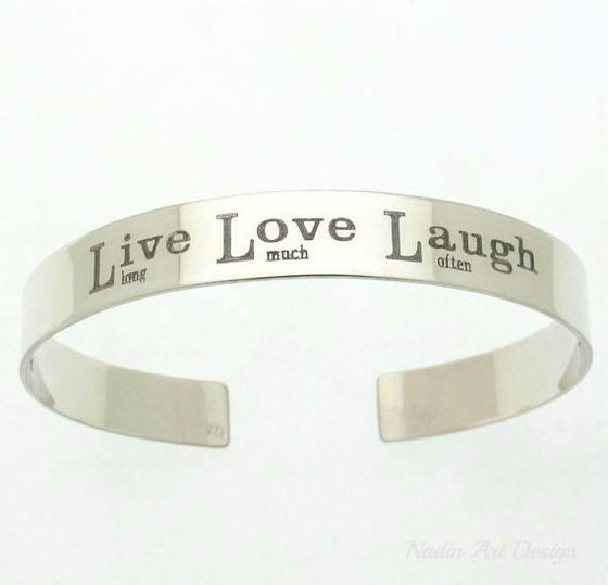 Live Love Laugh Bracelet - Personalized Mens Silver Bracelet - Engraved silver cuff