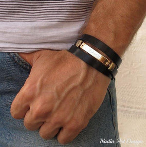 Mens Personalized Wrap Bracelet - Luxury mens Bracelets - Mens Gift Ideas