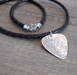 Personalized Mens Necklace - Leather necklace with the guitar pick