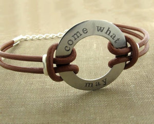 Medical Alert ID Leather Bracelet