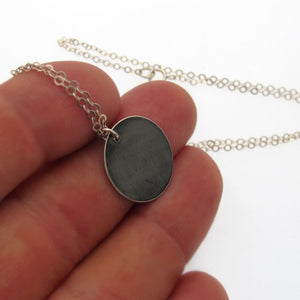 Black Disc Pendant Necklace
