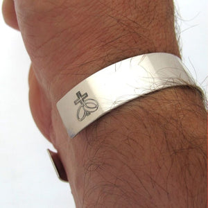 Wide Sterling Silver Cuff bracelet for Men