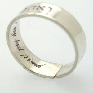 message engraved ring in sterling silver