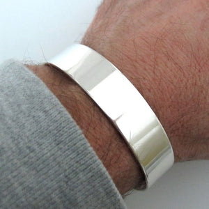 Wide Silver Cuff Bracelet For Men
