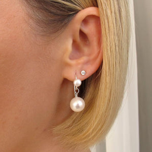 Sterling Silver Dangle Pearl Earrings