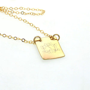Personalized Gold Square Initials Pendant Necklace
