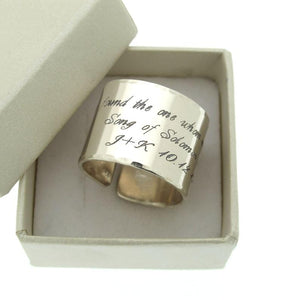 Custom Engraved Silver Wide Ring