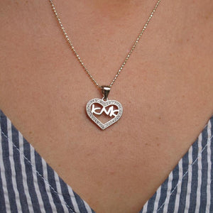 Mom in Hebrew Heart Pendant Necklace