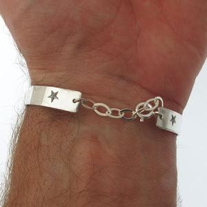 Personalized Mens Cuff - Adjustable bracelet