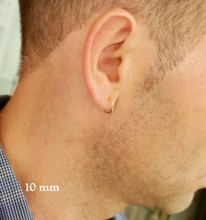 Small Hoops for men - Huggie hoop earrings