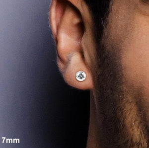 Round Crystal Stud earrings for men