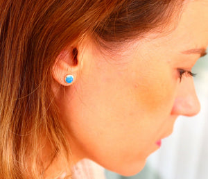 Triangle Stud Earrings with Blue Opal