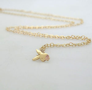 Gold Filled Bunny Pendant Necklace