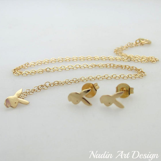 Bunny charm gold necklace