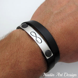 Infinity engraved wrap leather bracelet - Boyfriend Gift