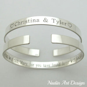 Thin silver bracelet with quote