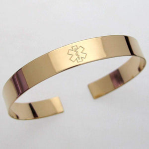 Medical Alert Bracelet - Gold ID Cuff bracelet for women