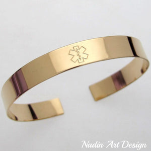 Both sides engraved gold cuff bracelet