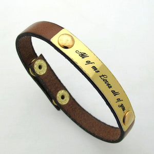 Boyfriend Gift - Custom Leather Mens Bracelet