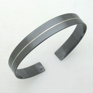 Black Bracelet - Line Cuff for Men
