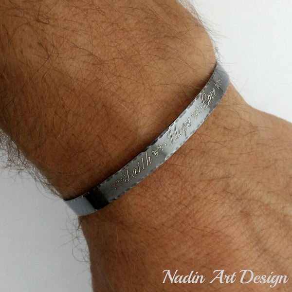 Gift for Men - Personalized Black Sterling Silver Bracelet
