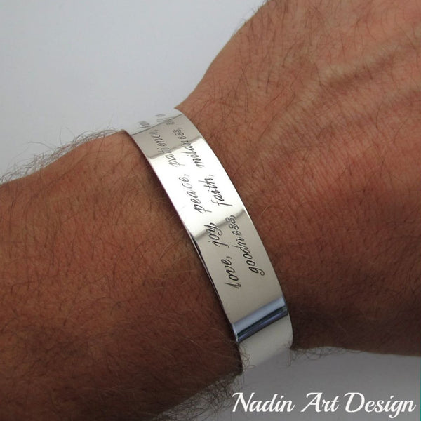Wide silver quote engaved bracelet