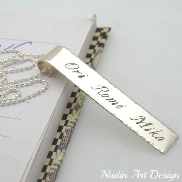 Name pendant silver unisex necklace
