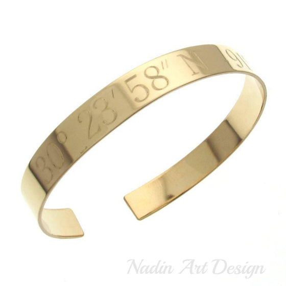 Engraved gold cuff for men - GPS engraved cuff - Gold Filled Cuff for men