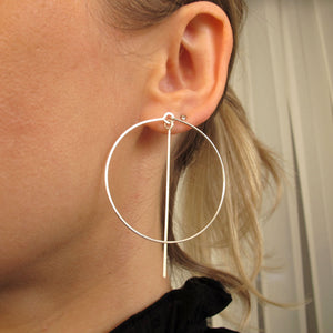 Sterling Silver hoops with dangle bar