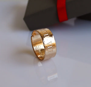 Roman Numeral Date Ring - Anniversary Gift for Men