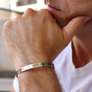 Men's Thin Cuff Bracelet in Silver